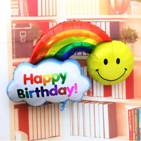 白雲彩虹哈哈笑happy birthday鋁箔氣球 for Birthday Party Balloon - Candy Corner Decoration