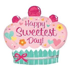 Happy Sweetest Day Cupcake氫氣球適用於其他鋁箔氫氣球 - Candy Corner Decoration
