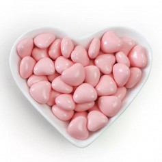 Mini Pink Heart Shaped Dragees Chocolate Centre