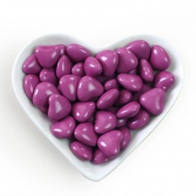Mini Violet Heart Shaped Dragees Chocolate Centre