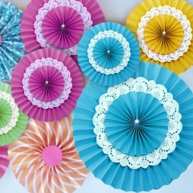 DIY彩色35cm三層紙扇 for Paper Series - Candy Corner Decoration