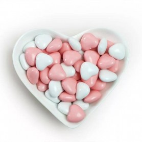 Mini Pink-White Heart Shaped Dragees Chocolate Centre