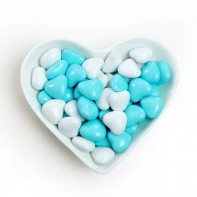 Mini Cyan-White Heart Shaped Dragees Chocolate Centre