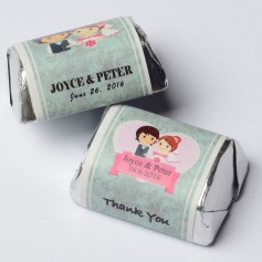 Cute Cartoon Bride And Groom Ping Color Personalized Hershey's Wedding Chocolate