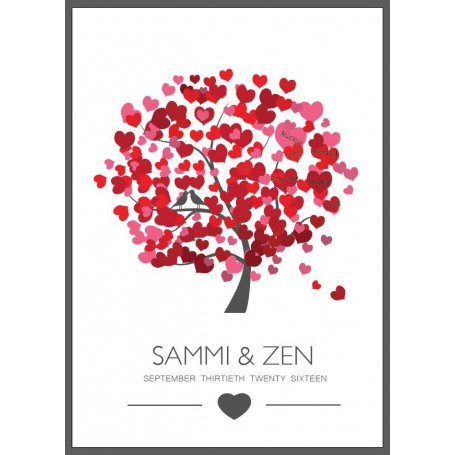 Red Heart Pre-printed Signature Guest Board / 簽名樹 / 婚禮簽名樹 / 婚禮簽名樹 for Pre-Printed Signature Tree - Candy Corner Decoration
