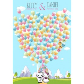 Hello Kitty Pre-printed Balloon Signature Guest Board with pets / 簽名樹 / 婚禮簽名樹 / 婚禮簽名樹適用於Pre-Printed Signature Tree - Candy Co...