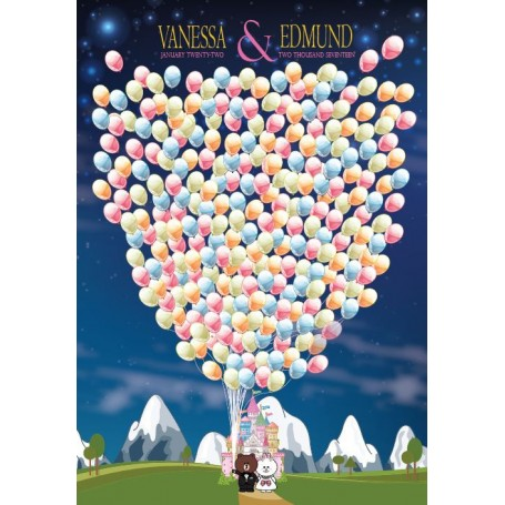King Size Line Rangers Brown & Cony 熊大兔兔個人化設計Pre-printed Balloon Signature Guest Board with pets / 簽名樹 / 婚禮簽名樹 / 婚禮簽名樹 for Pr...