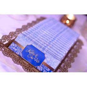 Personalized Design Blue Color Wedding Logo MEIJI CHOCOLATE BAR / Wedding Chocolate