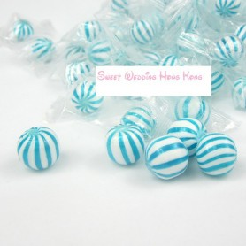 Blue Sassy Spheres White Striped Candy Balls for Hard Candy - Candy Corner Decoration