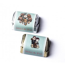 Cartoon bride and groom with poodle dog Design HERSHEY'S wedding chocolate for Personalized Hershey's Wedding Chocolate  - Ca...