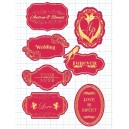 Red & Gold Candy Corner Tag with Design