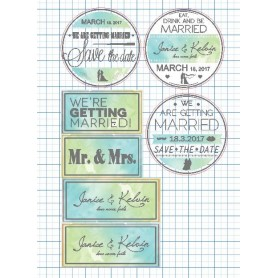 Green & Blue Cloud Candy Corner Tag with Design