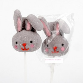 Easter Bunny Shape Cotton Lollipop for Easter Holiday Candy - Candy Corner Decoration