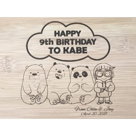 We Dare Bear Personalized Laser Engraving Birthday Wood Painting for Personalized Laser Engraving Wood Painting - Candy Corne...