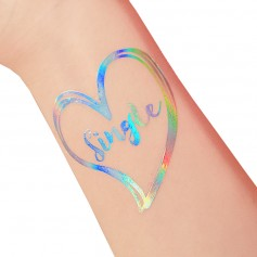 Flash Rainbow Silver Wedding Tattoo Sticker Single(T33)