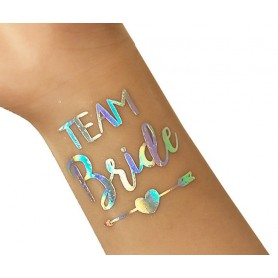 Flash Rainbow Silver Wedding Tattoo Sticker Team Groom (T29)