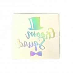 Flash Rainbow Silver Wedding Tattoo Sticker Groom Squad (T21)