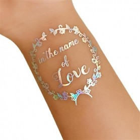 Flash Rainbow Silver Wedding Tattoo Sticker In The Name Of Love (T23)