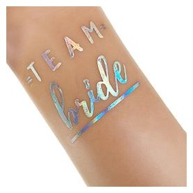 Flash Rainbow Silver Wedding Tattoo Sticker Team Bride (T28)