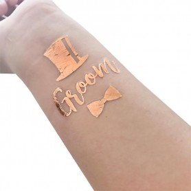 Rose Gold Wedding Tattoo Sticker Groom (T20) for ROSE GOLD WEDDING TATTOO STICKER - Candy Corner Decoration