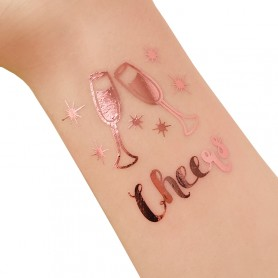 Rose Gold Wedding Tattoo Sticker Cheers (T26) for ROSE GOLD WEDDING TATTOO STICKER - Candy Corner Decoration