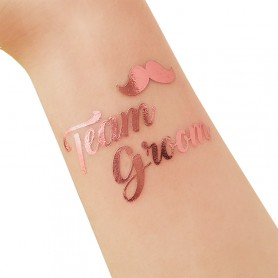 Rose Gold Wedding Tattoo Sticker Team Groom (T29) for ROSE GOLD WEDDING TATTOO STICKER - Candy Corner Decoration