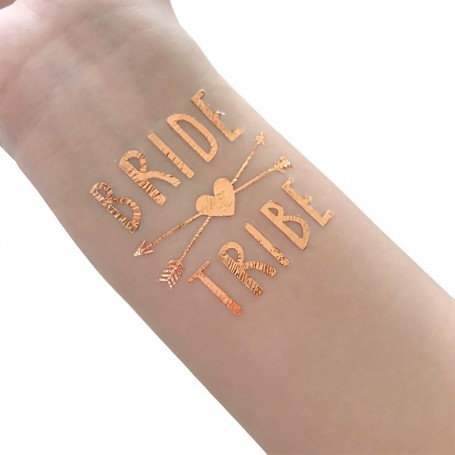 Rose Gold Wedding Tattoo Sticker Bride Tribe (T35) for ROSE GOLD WEDDING TATTOO STICKER - Candy Corner Decoration