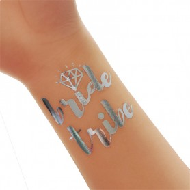 Classic Silver Wedding Tattoo Sticker Bride Tribe(T17)