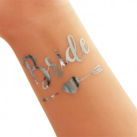 Classic Silver Wedding Tattoo Sticker Bride (T19) for Classic Silver Wedding Tattoo Sticker - Candy Corner Decoration