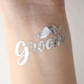 Classic Silver Wedding Tattoo Sticker Groom (T30) for Classic Silver Wedding Tattoo Sticker - Candy Corner Decoration
