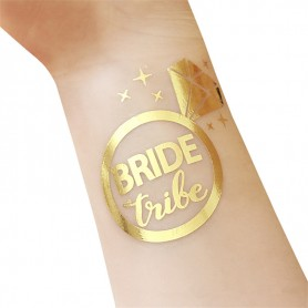 Classic Gold Wedding Tattoo Sticker Bride Tribe (T10)