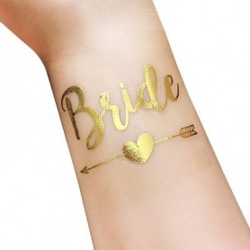 Classic Gold Wedding Tattoo Sticker Bride Tribe (T10) for Classic Silver Wedding Tattoo Sticker - Candy Corner Decoration