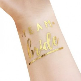 Classic Gold Wedding Tattoo Sticker Team Bride (T28)