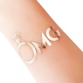 Rose Gold Wedding Tattoo Sticker OMG (T25) for ROSE GOLD WEDDING TATTOO STICKER - Candy Corner Decoration