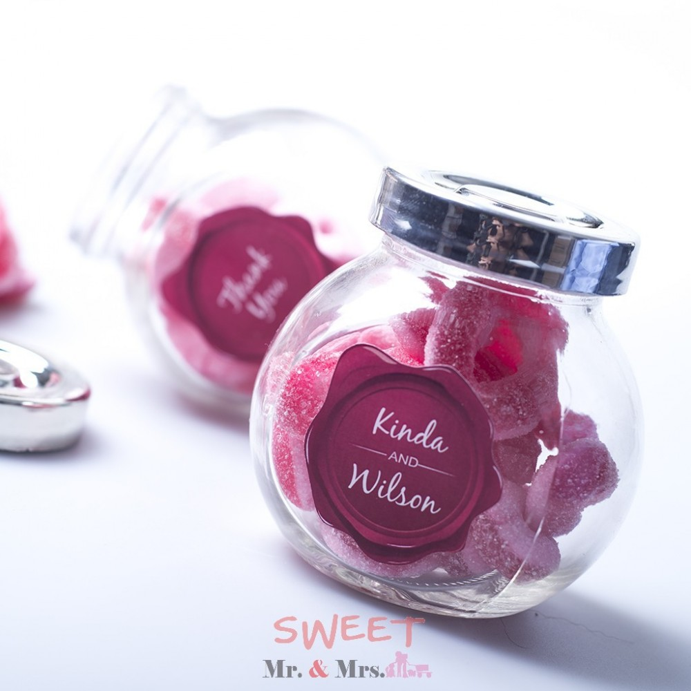 Personalized design Wedding Logo gummy candy glass favor gifts for ...