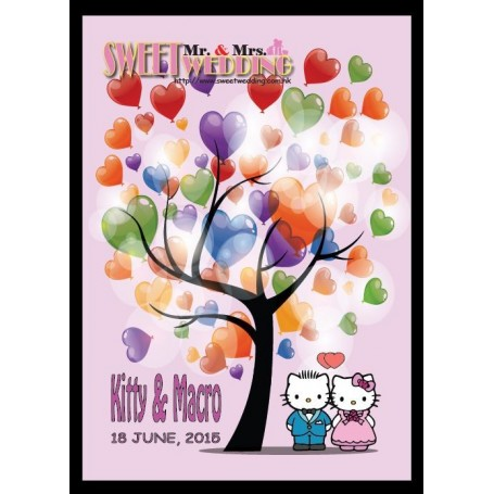 Hello Kitty Pre-printed Signature Guest Board with pets / 簽名樹 / 婚禮簽名樹 / 婚禮簽名樹適用於Pre-Printed Signature Tree - Candy Corner Dec...